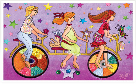 Women cycling naturally